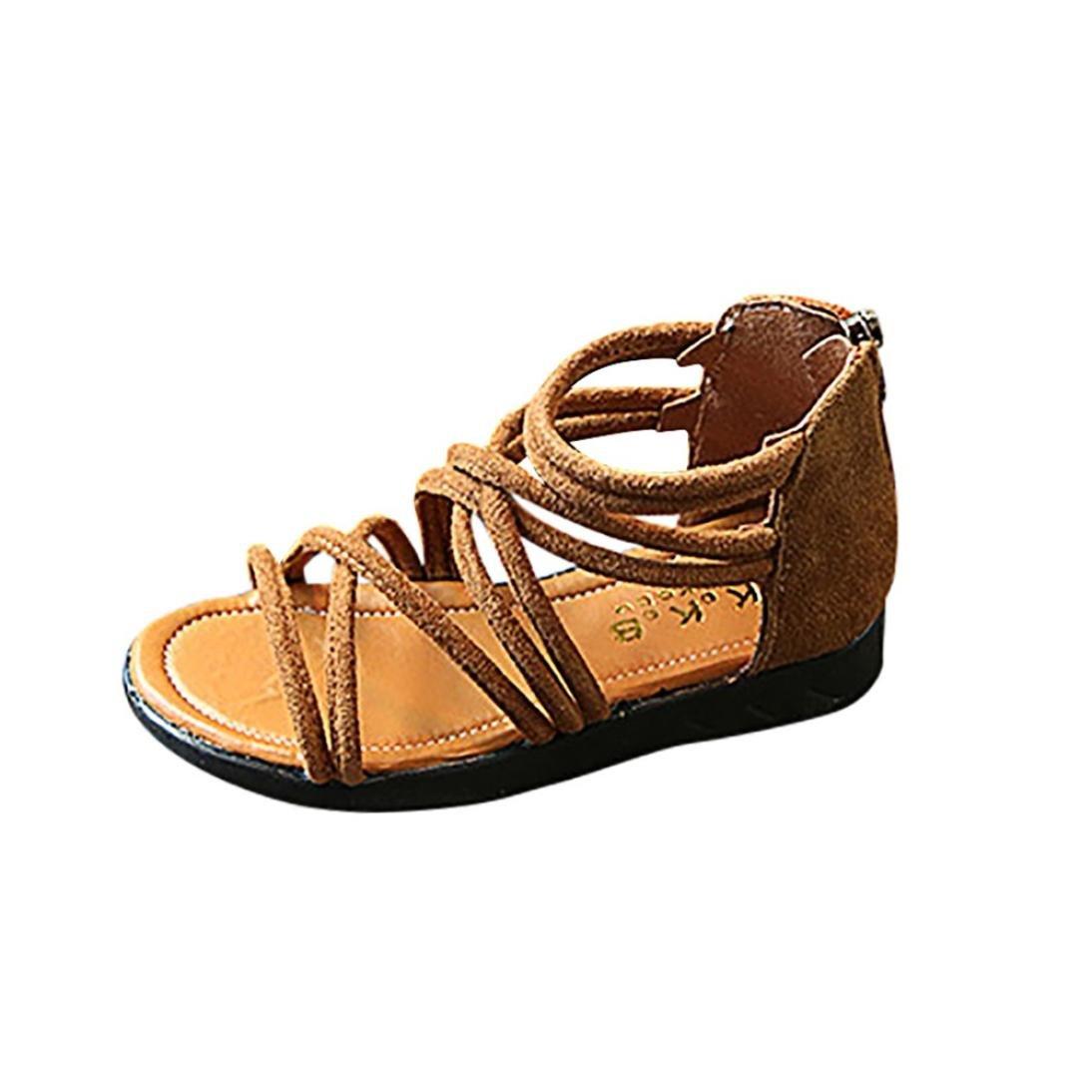 7c05ec827 Voberry® Bébé Filles Chaussures D'Été Mode Sneaker Sandales de Plage en  Cuir Solide à Fermeture à Glissière