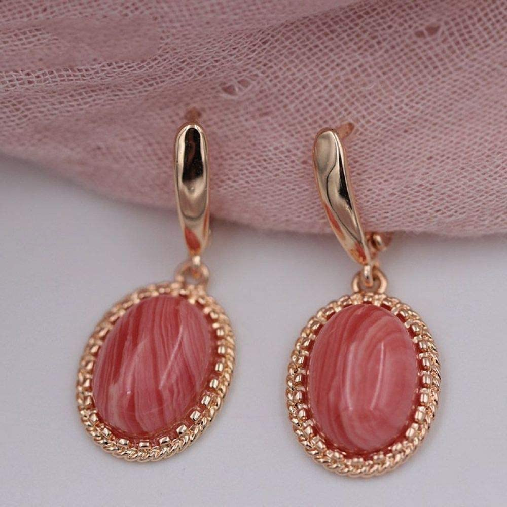 CHQSMZ Pendiente Nuevos Pendientes de ónix de Piedra Natural Mujeres Boda Joyería étnica 585 Pendientes Colgantes de diseño Original de Oro Rosa