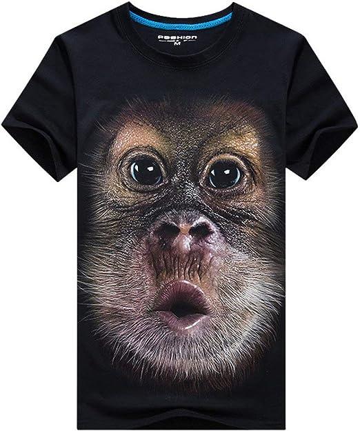 Tree-on-Life Americana Hombres 3D Gorila Impreso Camisetas de Manga Corta Estilo Hip Hop Hombre Desgaste Diario Masculino O Cuello Camisa Tops: Amazon.es: Hogar