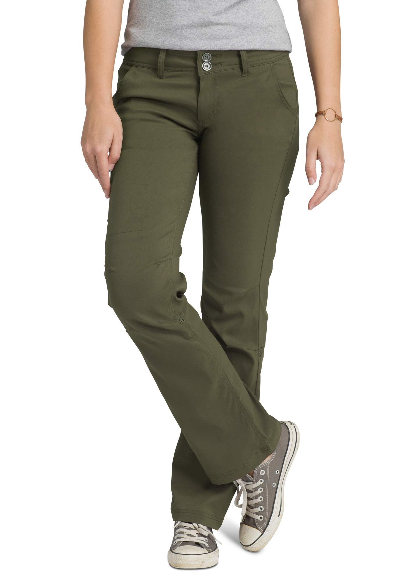 prAna - Women's Halle Roll-up, Water-Repellent Stretch Pants for Hiking and Everyday Wear, Regular Inseam, Cargo Green, 8 by prAna