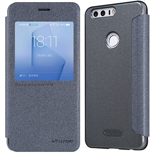 Huawei Honor 8 case, SANMIN Sparkle Smart Sleep View Window Slim Folio case, Synthetic Leather Flip Cover, Hard PC Matte Back Shell Hybrid Case for Huawei Honor 8 - Dark Grey
