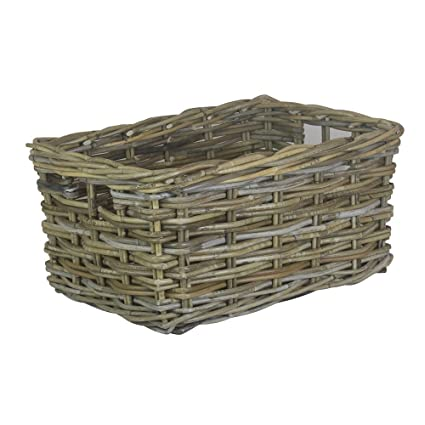 Bon Image Unavailable. Image Not Available For. Color: Large Rectangular Grey  Rattan Storage Basket
