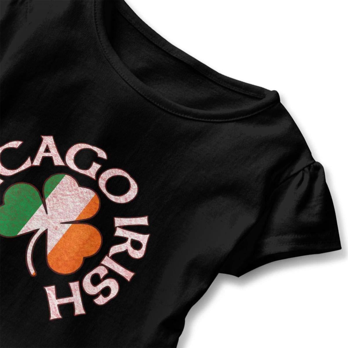 CZnuen Chicago Irish Shamrock 2-6T Baby Girls Cotton Jersey Short Sleeve Ruffle Tee