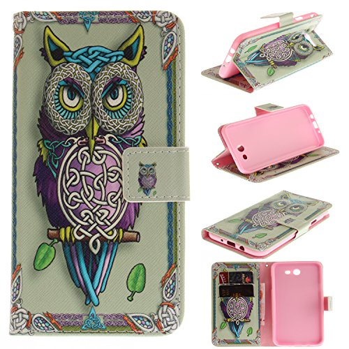 Galaxy J7 2017 Case, Galaxy J7 Perx Case, Galaxy J7 Sky Pro Case, Galaxy J7 V 2017 Case, Jenny Shop Pu Leather Flip Folio Stand Feature Magnetic Closure Protective Shell Wallet Case w/ Card Slot (Owl) -