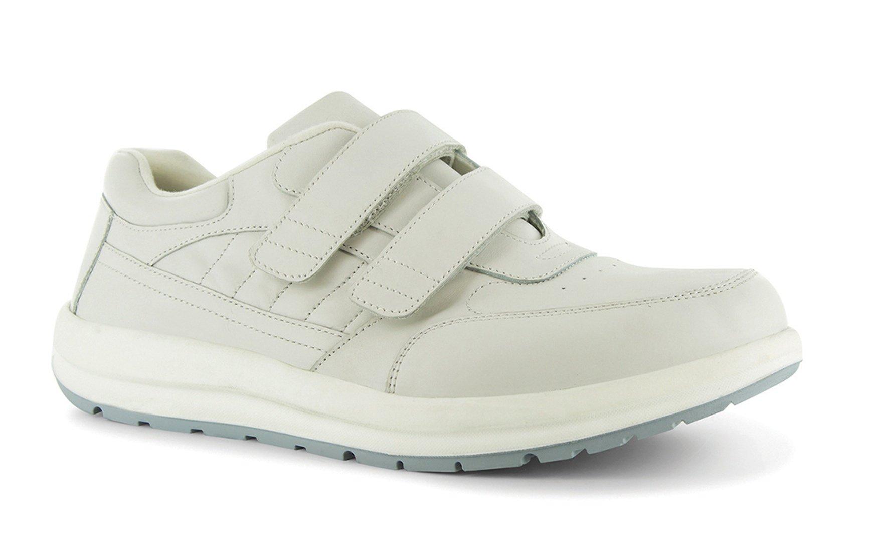 P W Minor Performance Walker Men's Therapeutic Casual Extra Depth Shoe: White 9.5 Medium (D) Velcro
