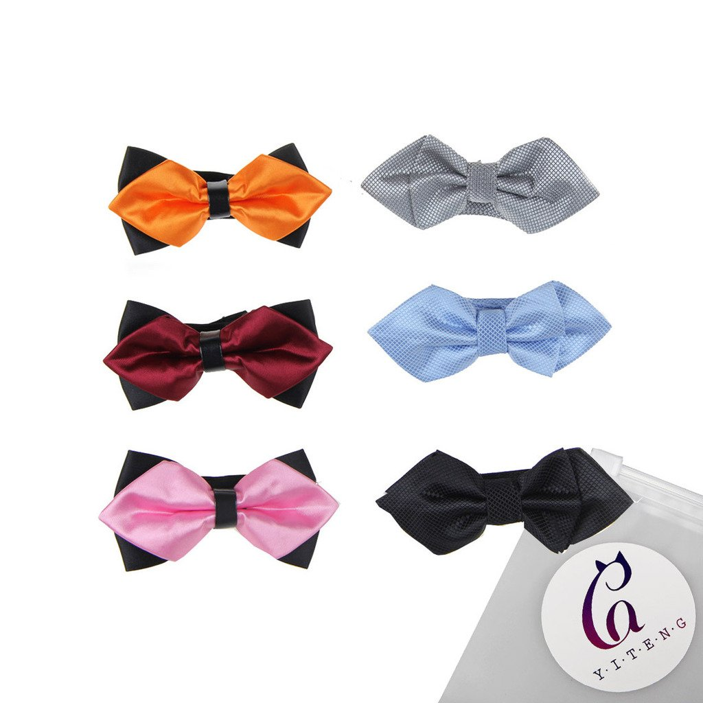 YiTeng 6pcs Mix Color Adjustable Pre-tied Mens Neck Tie Bow Tie Sets