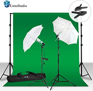LimoStudio Photography Photo Light Studio Lighting Kit Set with Green Chromakey Muslin Backdrop Background AGG718