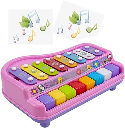 ZXIAQI 2 en 1 Niños Teclado de Piano Xilófono Juguetes 8 ...