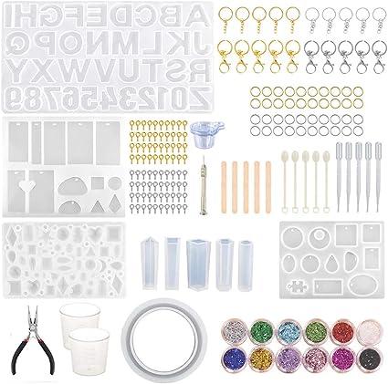 upain Juego de 6 moldes de silicona con forma de l/ápiz de resina epoxi para moldear y moldear con 30 recambios para bol/ígrafo DIY