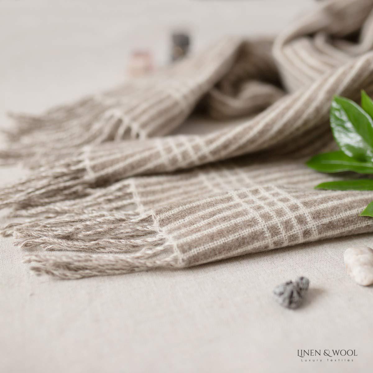 100/% Lana Merinos Superfine 34 x 200 cm Linen /& Cotton Sciarpa Donna Uomo Estilo Grigio - a Quadretti