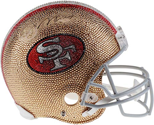 Joe Montana San Francisco 49ers Autographed Swarovski Crystallized Riddell Pro-Line Authentic Helmet with LED Display Case on a Rotating Base - Fanatics Authentic Certified