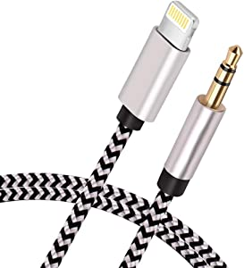 [Apple MFi Certified] iPhone to 3.5mm Car AUX Stereo Audio Cable (3.3FT/1M), Lightning to 3.5mm Nylon AUX Adapter Compatible with iPhone 12 Series/11/XS/XR/X 8 7/iPad to Home Stereo/Speaker/Headphone