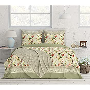 Livingston Home Turkish Collection Bedding Sheets, Queen, Floral With  Geometric, 6 Piece