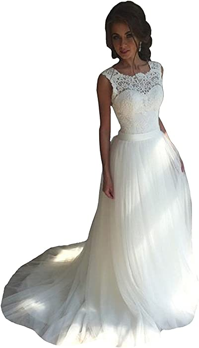 WANNISHA Women\'s 2018 New Tulle Lace Wedding Dresses A-Line Long ...