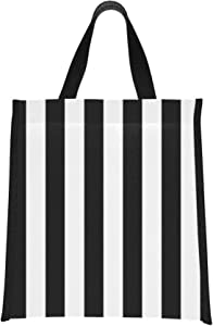 Insulated Cooler Beach Bag Striped Black White Girls Lunch Tote Bag Cooler Bags For Beach Reusable, Foldable Keeps Food Hot/cold For Women,men,school,office