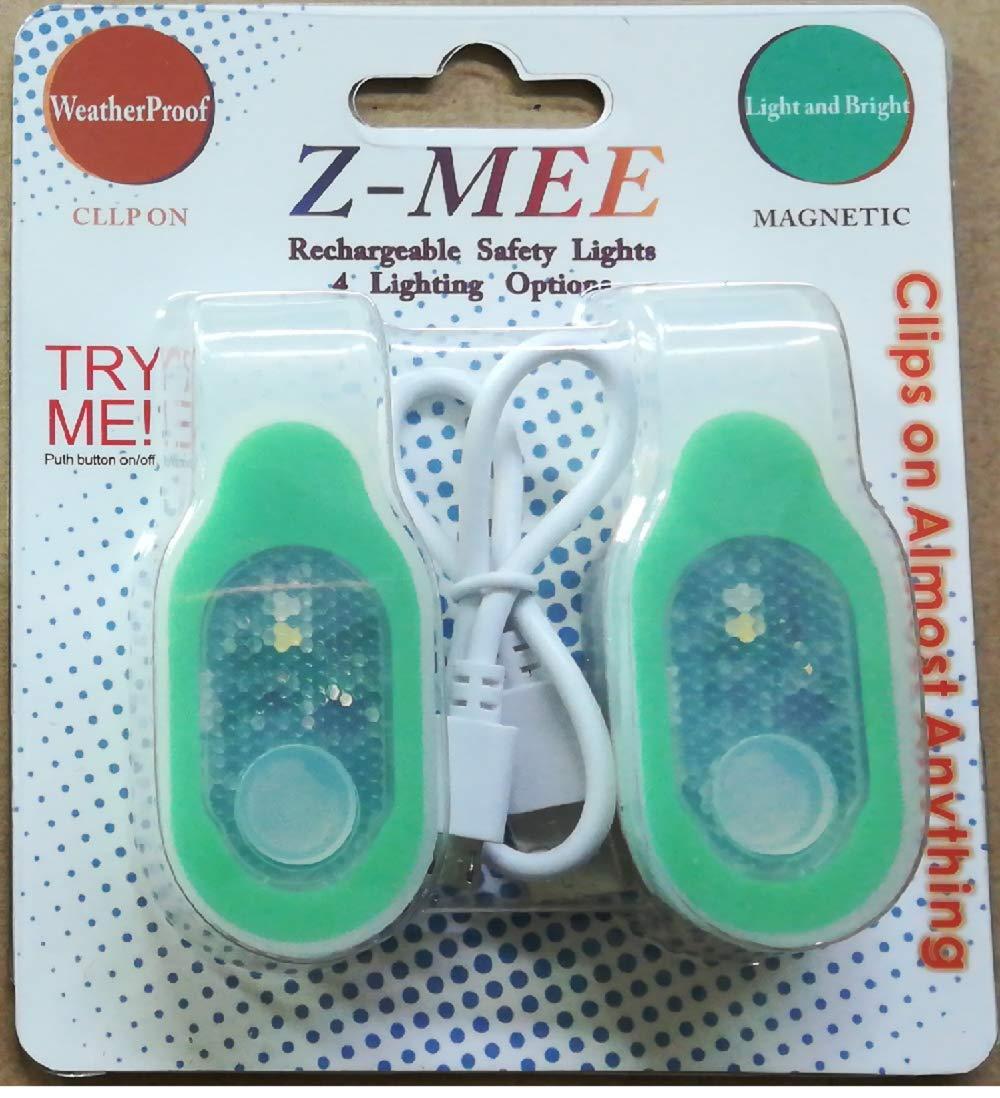 Z-Mee LED 安全ライト 充電式 USB クリップオン 磁気 ウォーキング ジョギング ランニング バイキング ハイキング 登山 キャンプ スポーツ 自動車 インドア アウトドア B07HKFCG37 グリーン