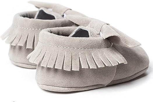 Fossen Zapatos de Bebe Niñas Recién nacido Primeros pasos con Bowknot y borlas Zapatillas