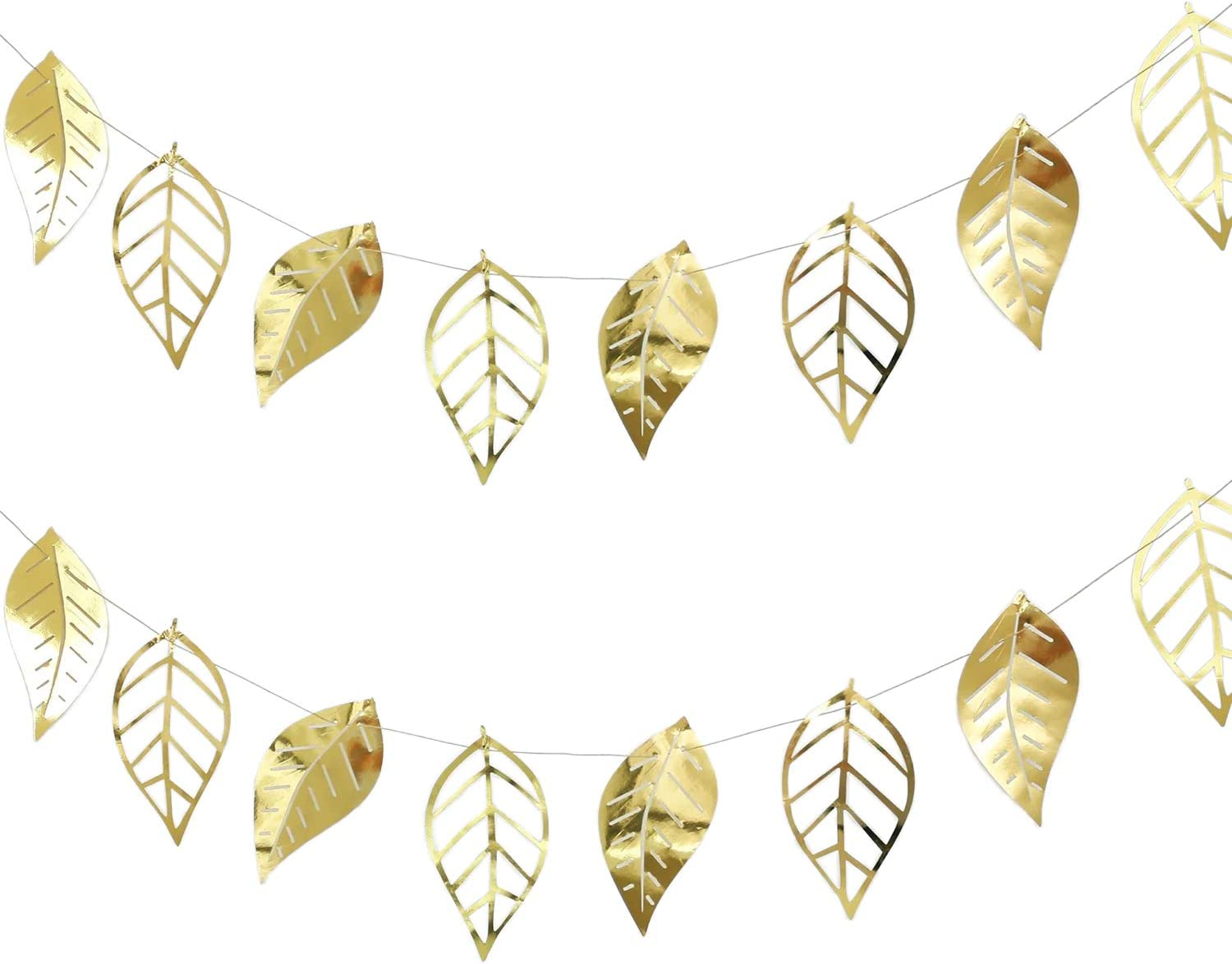 Metallic Gold Leaf Garland - Large Paper Leaves Hanging Decorations for Weddings, Bridal Showers, Elegant Backdrops, Boho Table Decor, and Nature Theme (2 Pack)