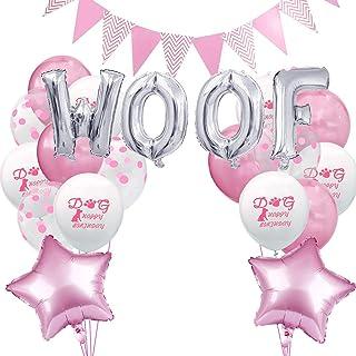 POPETPOP Woof Chien Décorations de fête d'anniversaire Ballons en Aluminium Décoration Ballon en Aluminium (Argent et Rose)