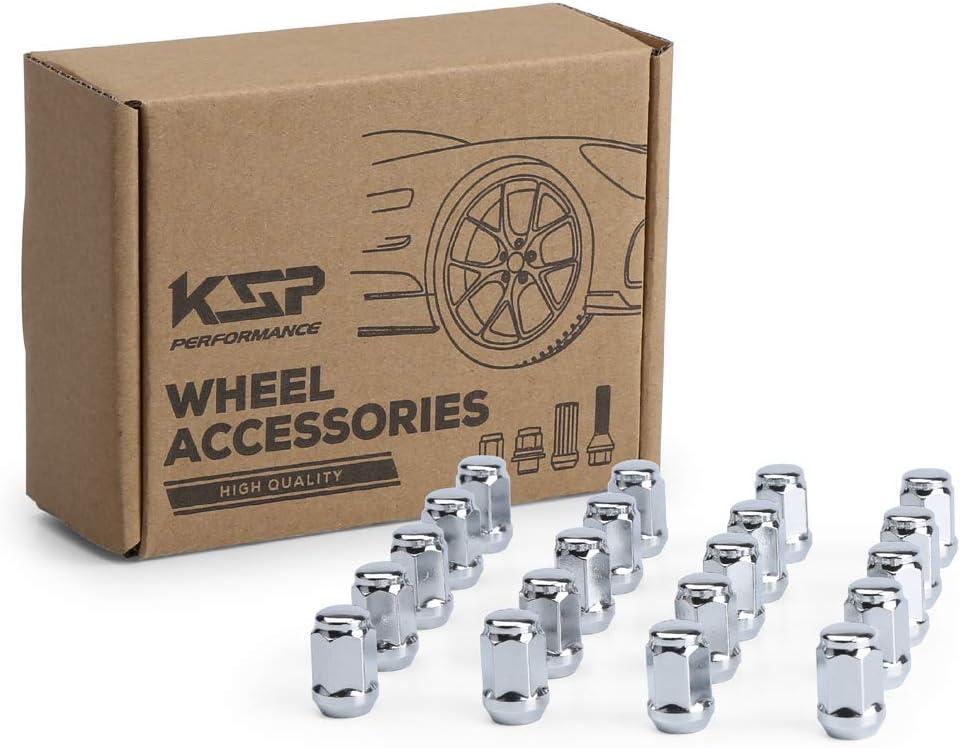 KSP M12x1.5 Chrome Lug Nuts 20pcs Steel Tuner Wheel Nuts Conical Acorn Seat Closed Bulge 3//4 19mm Hex for 5 Lug Wheel