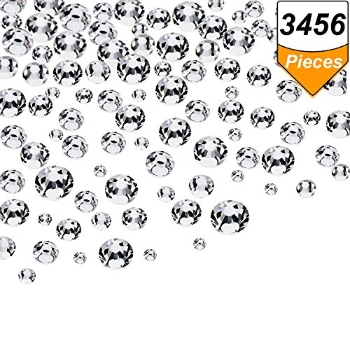 Bead Ab Crystal (Bememo 3456 Pieces Nail Crystals AB Nail Art Rhinestones Round Beads Flatback Glass Charms Gems Stones, 6 Sizes for Nails Decoration Makeup Clothes Shoes (Crystal Clear, Mixed SS4 5 6 8 10 12))