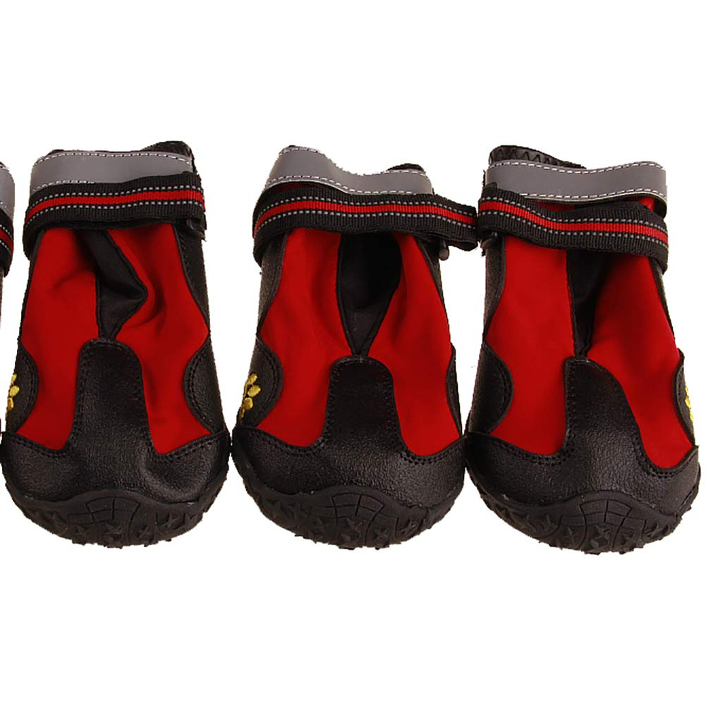 Red 5  Red 5  Pet Paws Predector,Resistant Dog Boots Environmentally Friendly Plastic Soles are Non-Slip Waterproof wear Resistant Reflective Strip Design Safer,Red,5