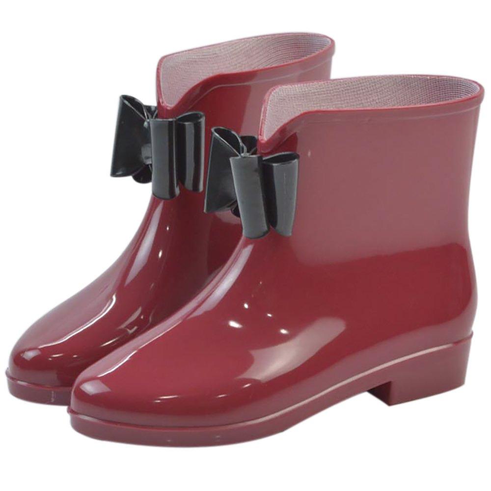 Women's Waterproof Rubber Jelly Anti-Slip Rain Boot Buckle Ankle High Rain Shoes B01J7EX8QW 7 B(M) US|Wine Red Bowknot