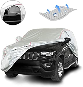 Tecoom Hard Shell Zipper Design Waterproof UV-Proof Windproof Car Cover for All Weather Indoor Outdoor Fit 211-220 inches Full-Size SUV