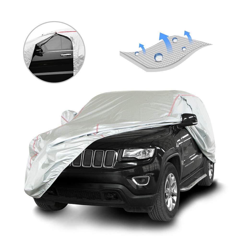 "Tecoom Hard Shell Breathable Material Door Shape Zipper Design Waterproof UV-Proof Windproof Car Cover for All Weather Indoor Outdoor Fit Sedan 170/""-190/"" Length"