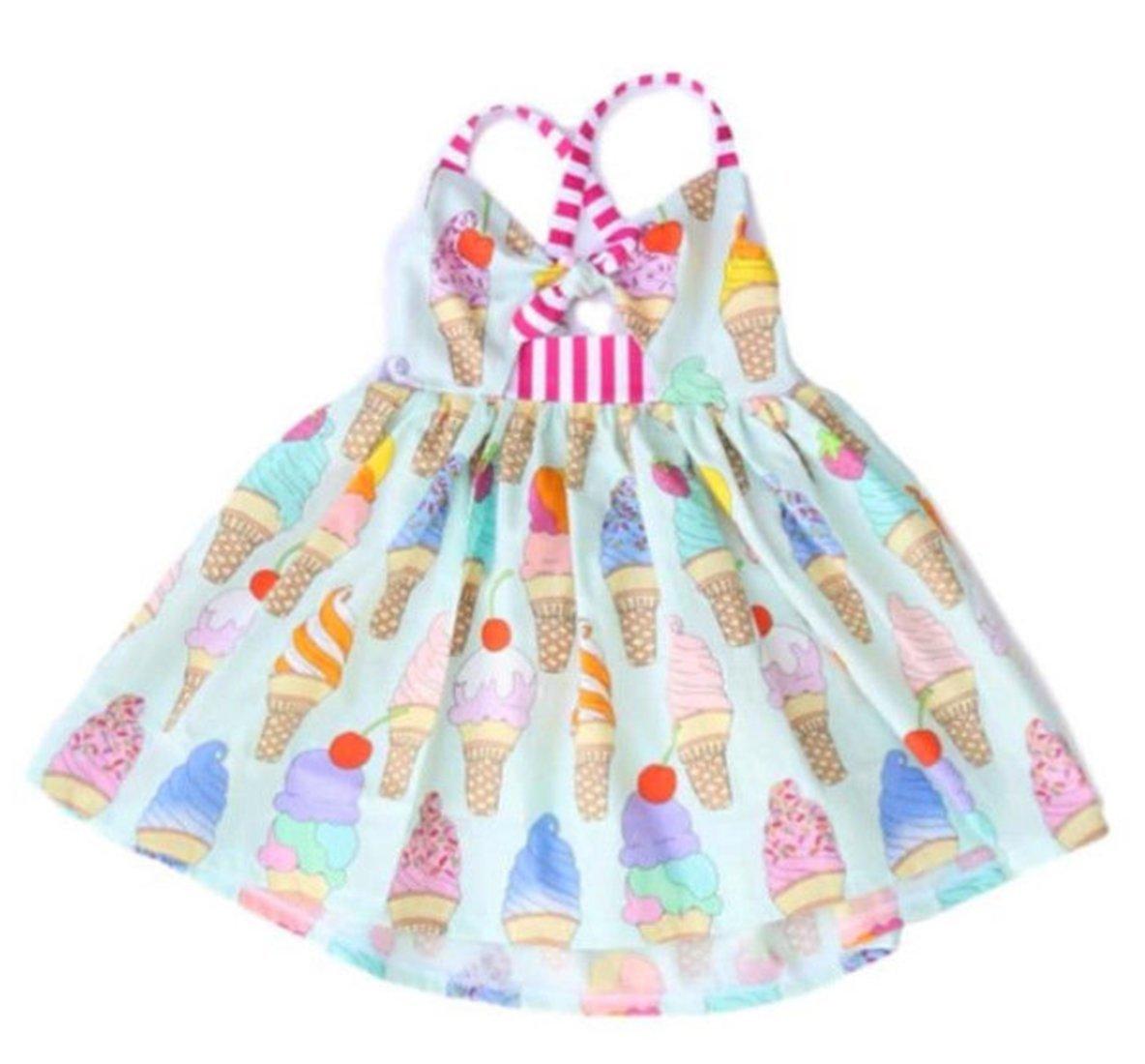 Toddler Girls Summer Ice Cream Print Strap Backless Beach Sundress Dress Size 12-18 Months/Tag90 (Colour)