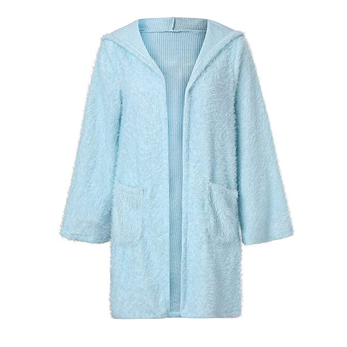 Amazon.com: AOJIAN Women Jacket Long Sleeve Outwear Hooded Knit Plush Open Front Pocket Cardigan Coat Cover Up: Clothing