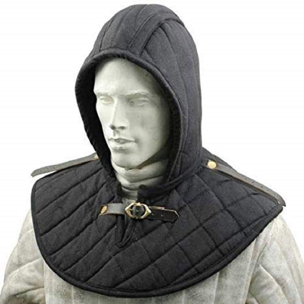 Renaissance Medieval SCA Padded Black Cotton Armor Coif and Buckle Cowl Collar - DeluxeAdultCostumes.com