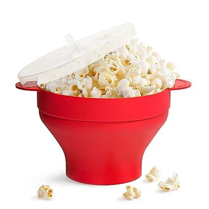 Gearmax® Plegable Bowl con Tapa,Recipiente para cocinar Palomitas en microondas,fácil y