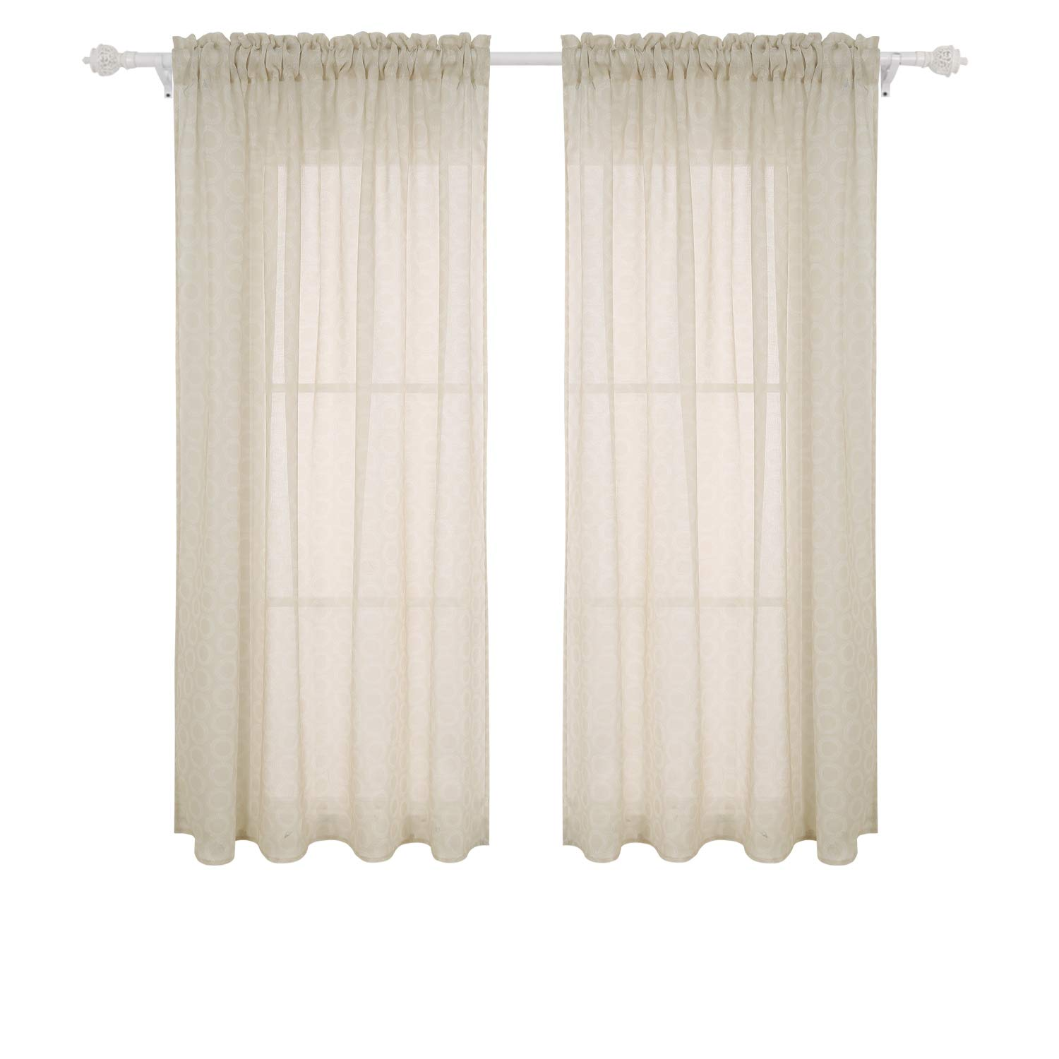 Deconovo Sheer Curtains 63 Inches Long Rod Pocket Sheer Drapes Circle Printed Sheer for Kitchen 42W X 63L Inch Beige 2 Panels