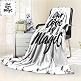 YOYI-HOME Super Soft Duplex Printed Blanket is Magic Quote Frame Print Surrounded by Star Figure Romance Graphic Work Black White Anti-Static,2 Ply Thick,Hypoallergenic/W47 x H59