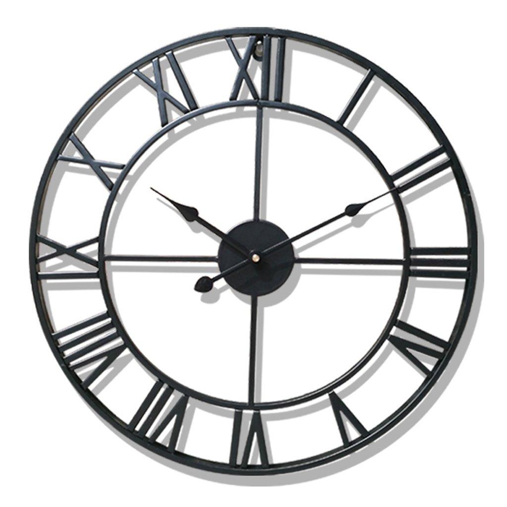 Nclon レトロ 壁掛け時計,錬鉄 ローマ数字 大規模です ラウンド 北欧 金属 リビング ルーム カフェ 精度 壁掛け時計-レッド 40cm B07CNN4CJ8 40cm|レッド レッド 40cm
