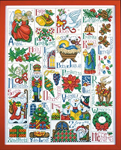 Design Works - Christmas ABC Sampler (5458) - Counted Cross Stitch Kit - 16 by 20 inches - with Gift Card