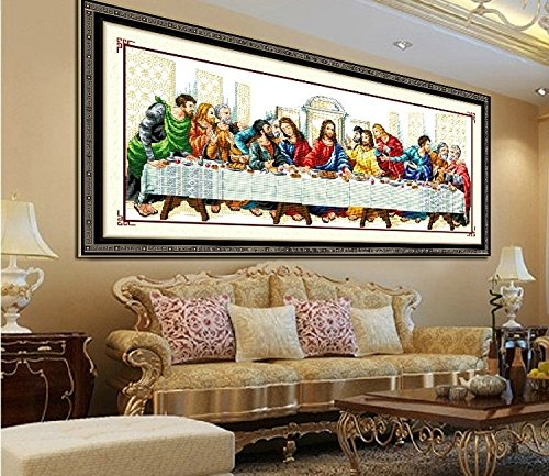 Faraway Last Supper Jesus Cross Stitch Kit, Christian Religious DIY Needlework Cross Stitching Home Decor ()