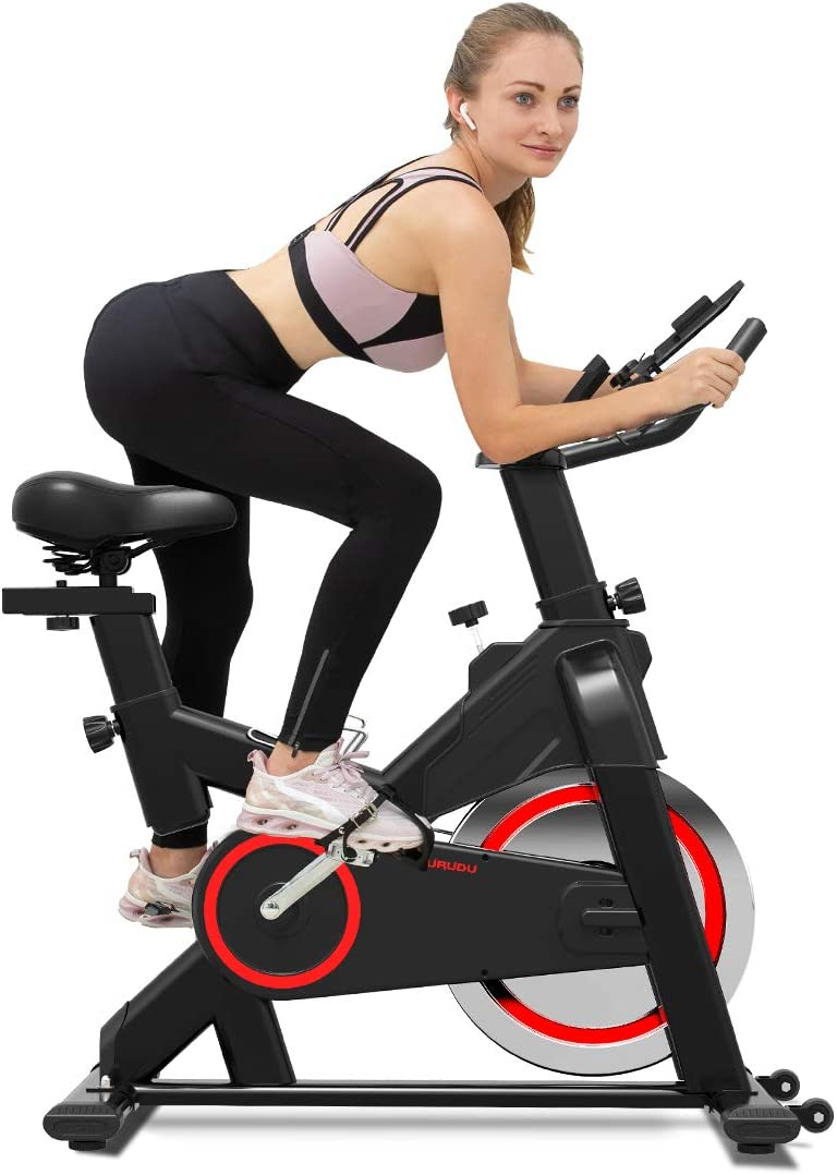 TURUDU Spin Bike, Indoor Cycling Bike Stationary, Belt Drive Indoor Exercise Bike for Home Cardio Gym, with 35 LBS Upgraded Solid Flywheel, LCD Display Comfortable Seat Cushion