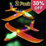 Glider Airplane Model Jet Kit, 2 Pack LED Light Up