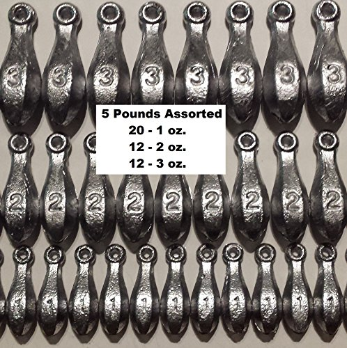 Bulk Bullet Weights Bank Fishing Sinkers - 3 to 5 Pounds of assorted weights (5 LB)