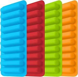 Ice Tube Making Trays, Perfect Ice Cube Sticks Molds for Small Mouth Sport Water Bottles, Bottled Soda, IHUIXINHE Silicone Ice Stick Tray Set of 4 packs, 40 ice sticks (Classic color)