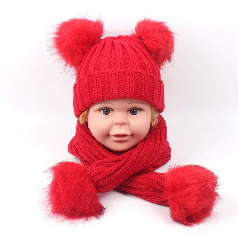 Thick Wool hat Set. Childrens Knit hat Scarf Set