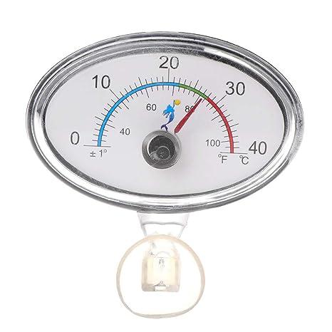 CADANIA Termómetro Indicador de Acuario Tanque de Peces Temperatura Dial Sumergible Ventosa - Redondo