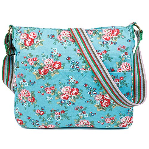 Canvas Trendy Design Body Womens Cross Blue Craze Bag Shoulder Messenger London Flower aHxEZwqB
