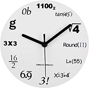 Timelike Math Clock, Unique Wall Clock Modern Design Novelty Maths Equation Clock - Each Hour Marked by a Simple Math Equation (12