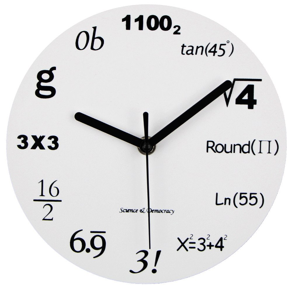 Amazon math clock timelike unique wall clock modern design amazon math clock timelike unique wall clock modern design novelty maths equation clock each hour marked by a simple math equation 1230cm home amipublicfo Choice Image