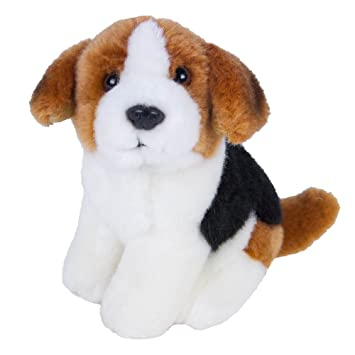 peluche bianco Cane marrone cm 12 nero cane peloso seduto coccolare ohBsQxtCrd