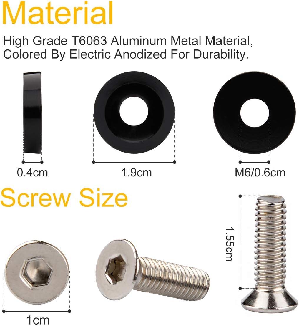 10 pcs Color Aluminum Fender Washers Engine Bay Dress Up Kit M6 20mm Bolt//Screw