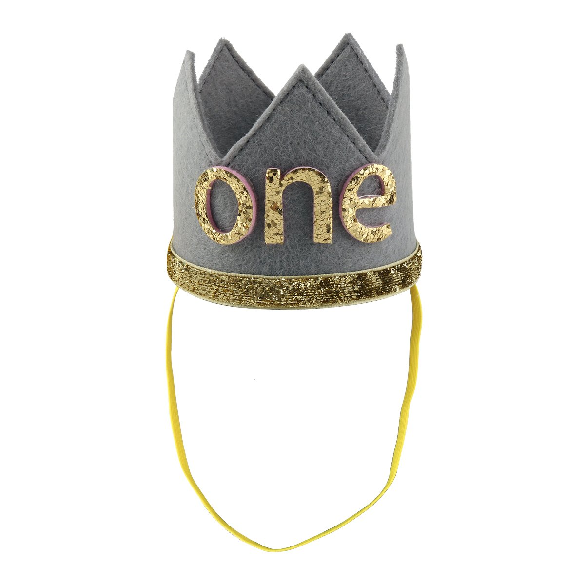 iiniim Baby Girls Boys First /1st Birthday Party Hat Little Prince Crown Headband Head wear Accessories Gray Letter ONE One Size